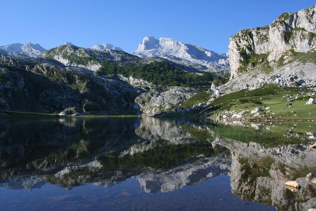Spain picos de europa still reflection covadonga