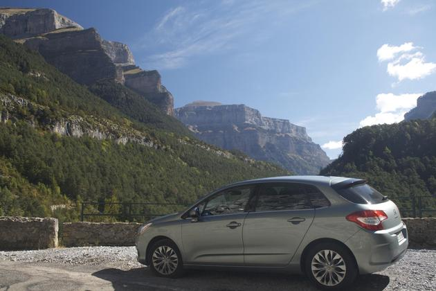 Spain pyrenees ordesa national park approach road