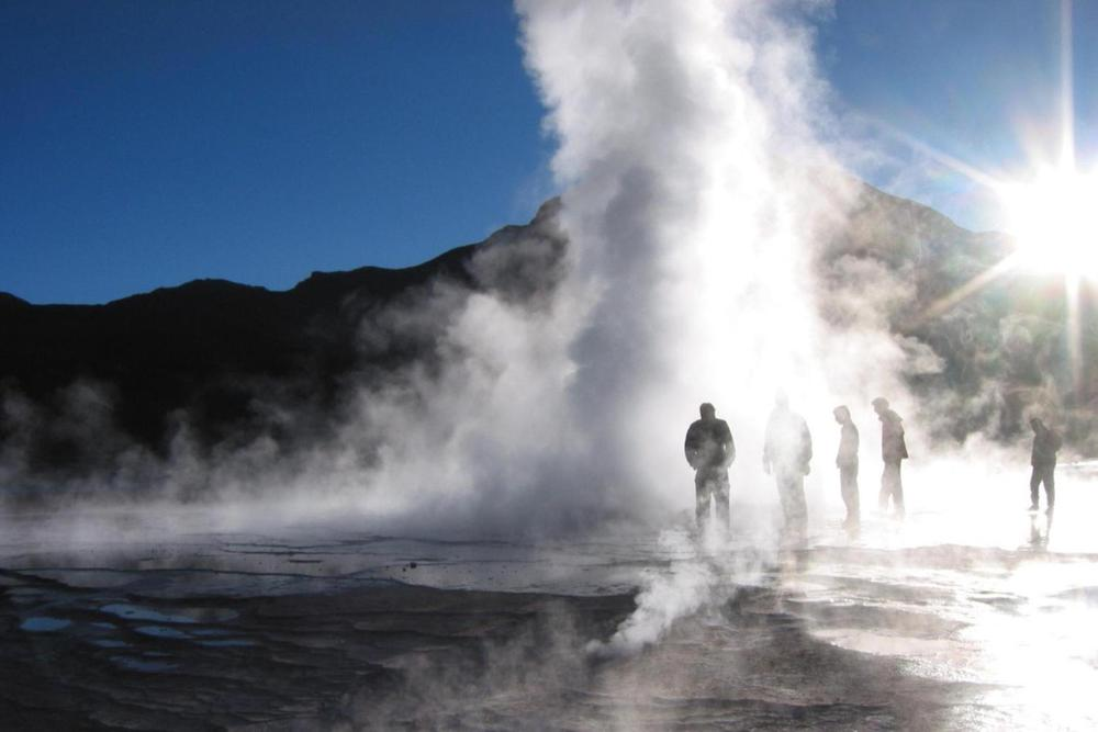 Chile atacama tatio geysers figures standing in steam20180829 76980 na9zsr