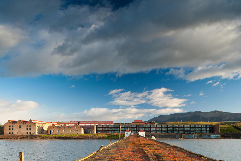 Chile patagonia singular hotel puerto bories looking back at hotel from end of pier20180829 76980 gtcw5j