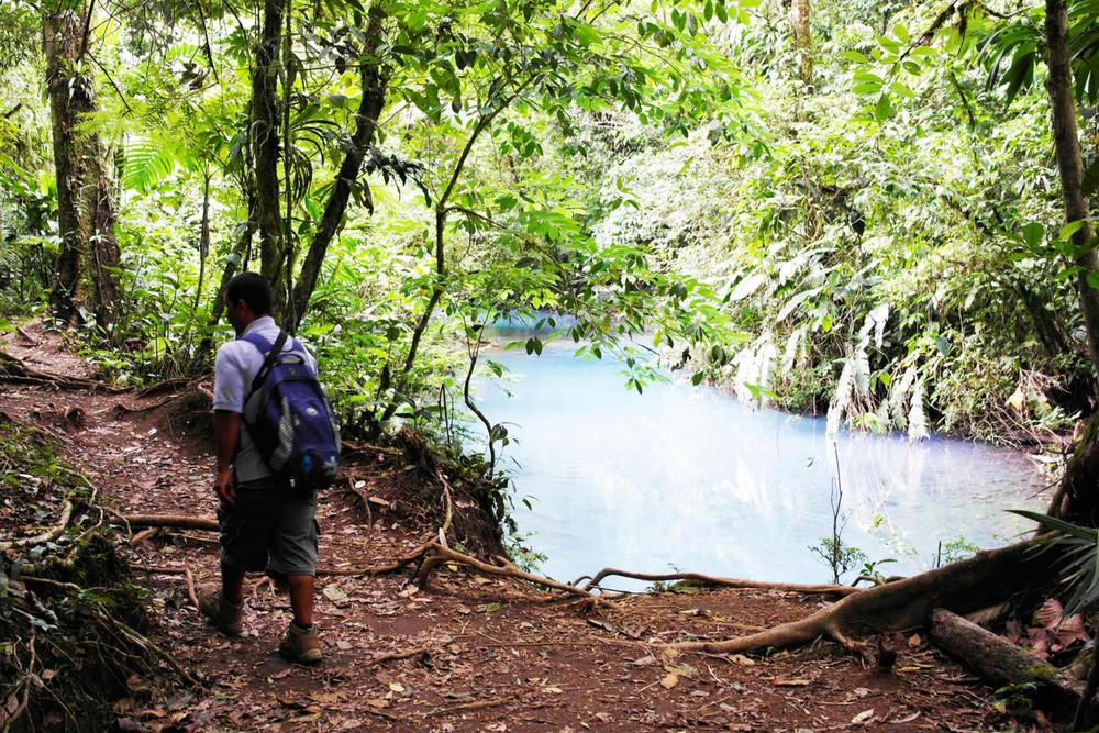 Costa rica tenorio volcano national park guide walking alongside the rio celeste20180829 76980 759uz8