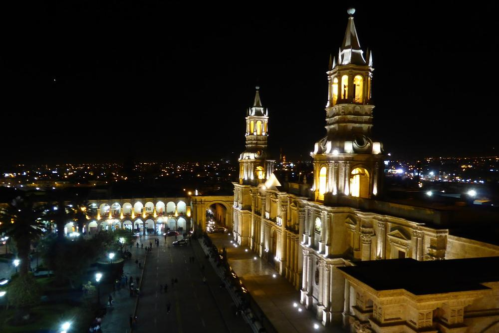 Peru arequipa cathedral night high vantage