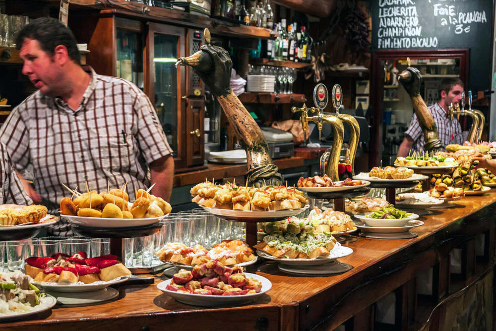 Spain basque country view of a bar with traditional pinchos in san sebastian basque country20180829 76980 r5ww2
