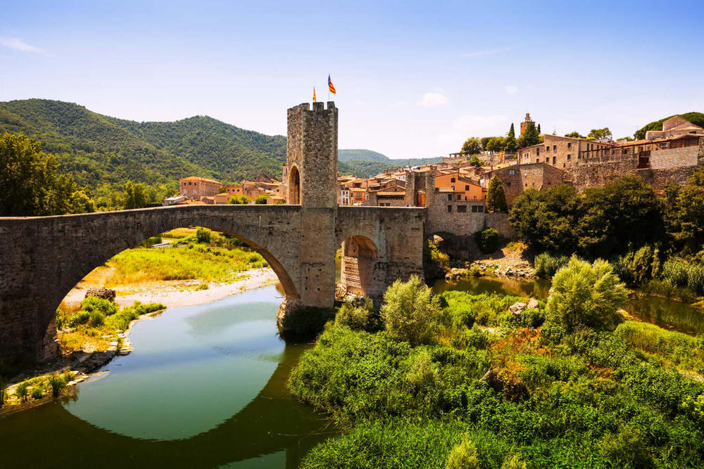 Spain catalonia view of medieval town with bridge. besalu catalonia