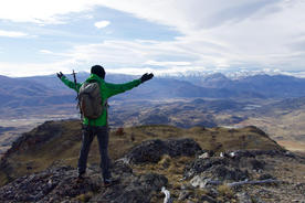 Chile patagonia aysen future parque patagonia guide arms outstretched views of chacabuco valley