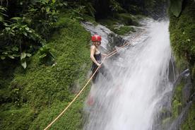 Costa rica caribbean selva bananito teen girl rappelling waterfall20180829 76980 1u9bq4n