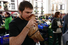 Spain basque country ordizia market chef smelling boletus mushroom20180829 76980 15nl7xm