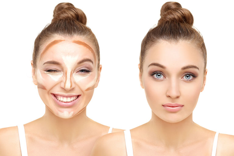 Before and after face make-up contouring