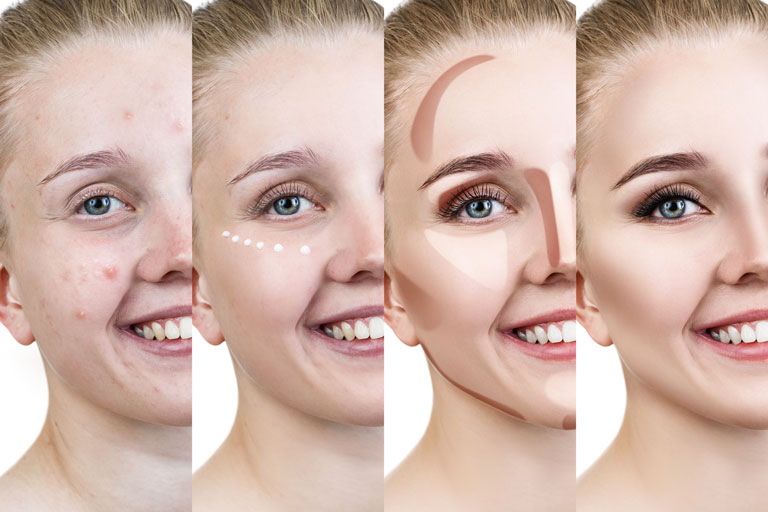 Different steps of facial contouring make-up application