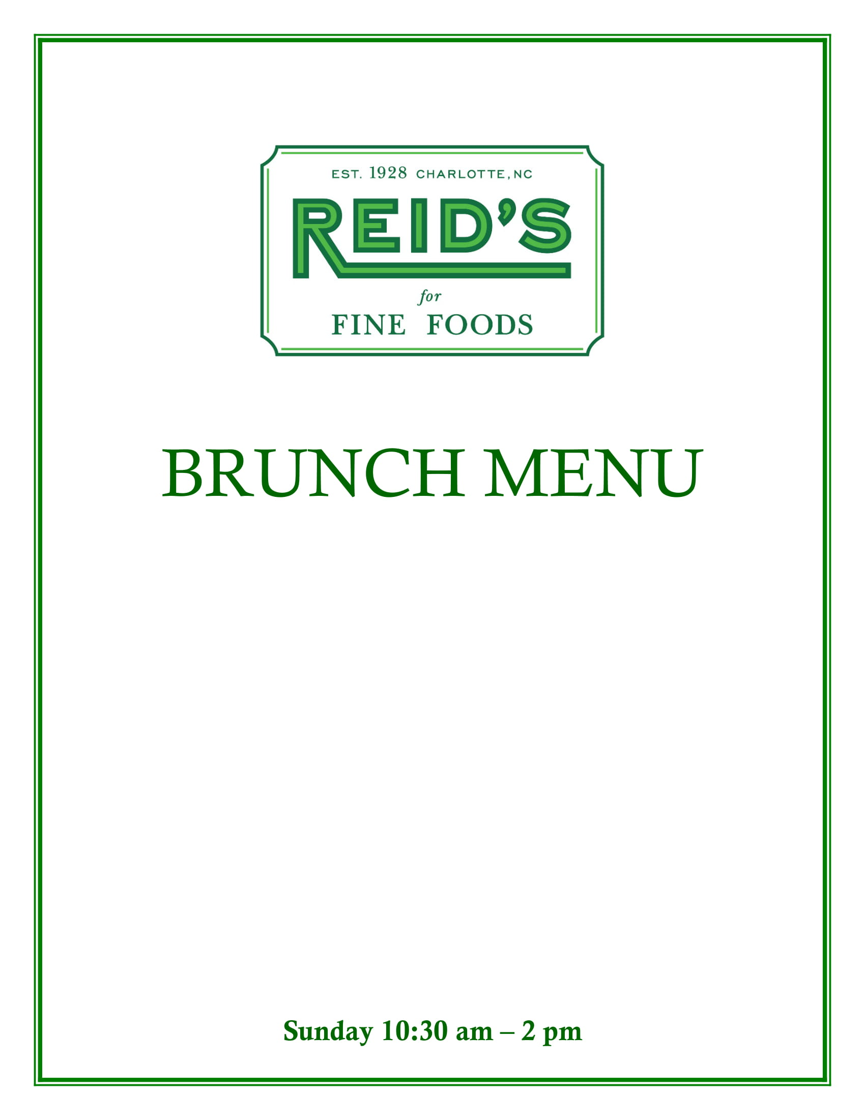 Southpark Sunday Brunch Menu
