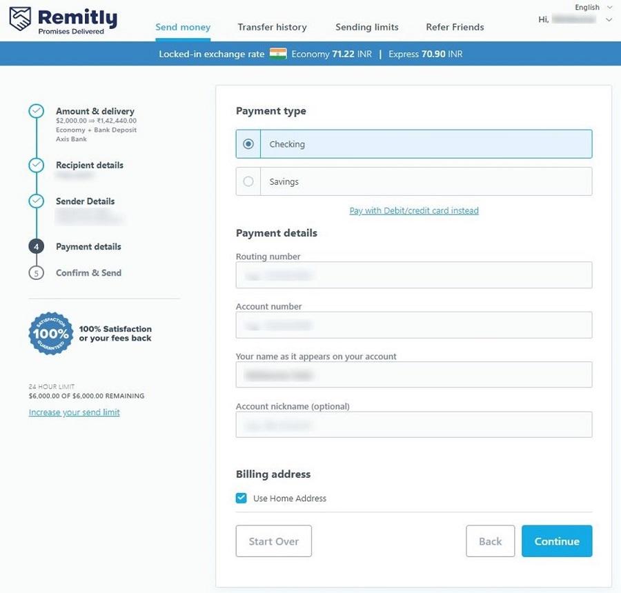 fill sender bank details and card details