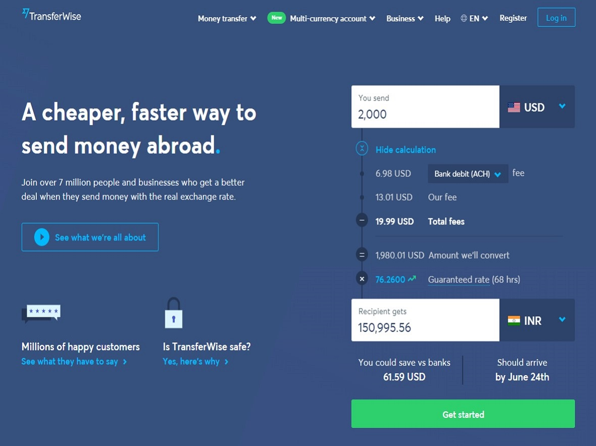 TransferWise Profile Page