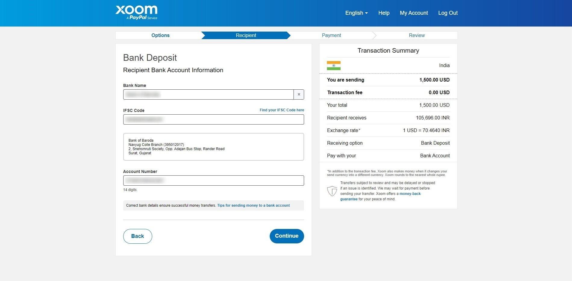 fill recipient bank information