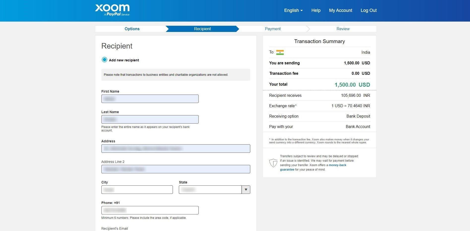 fill recipient basic info