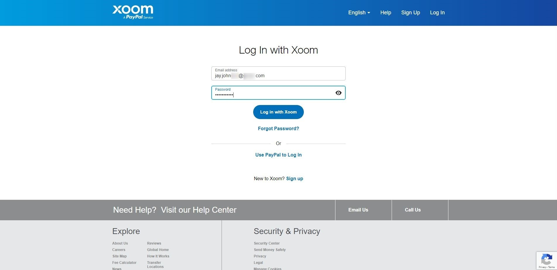 log in with xoom creds