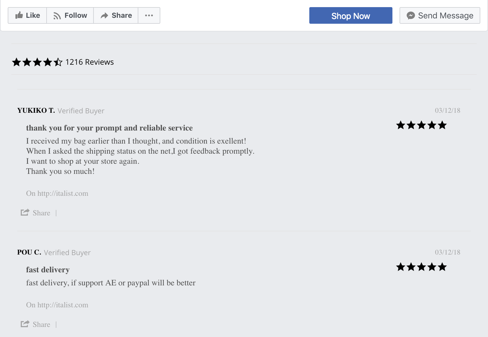 Facebook non-native review widget