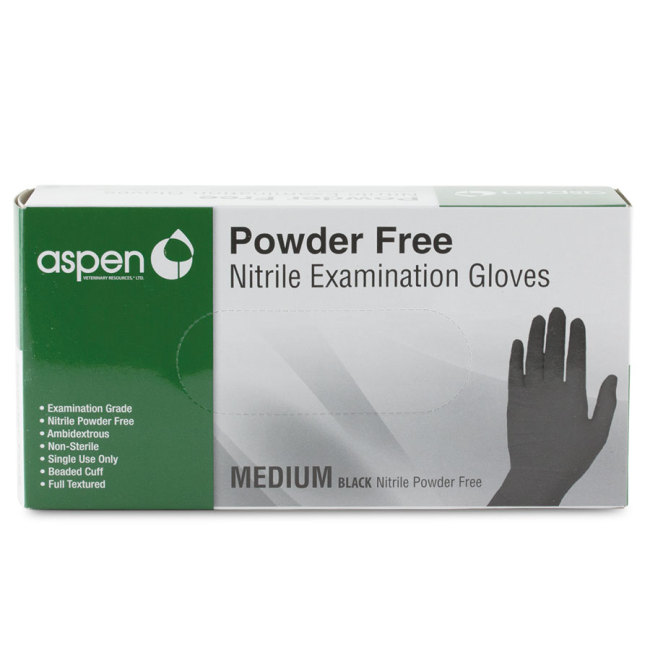Aspen Black Nitrile Gloves