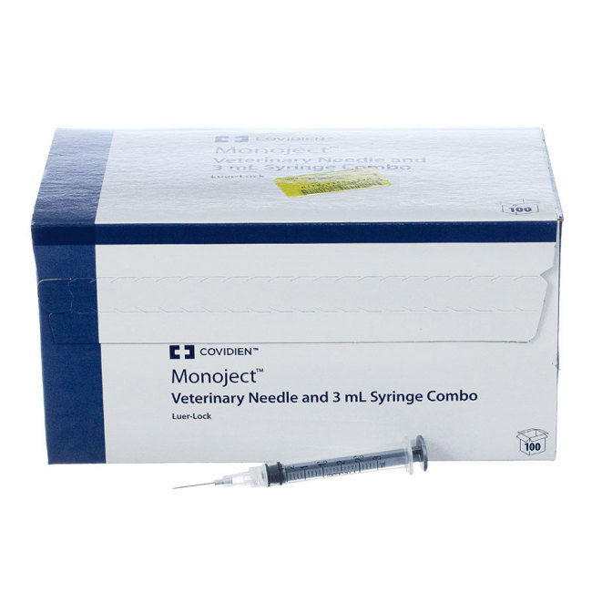 "3cc MonoJect Syringes with 22 gauge Needles 3cc, Luer Lock, 22g x ¾"", 100 ct"