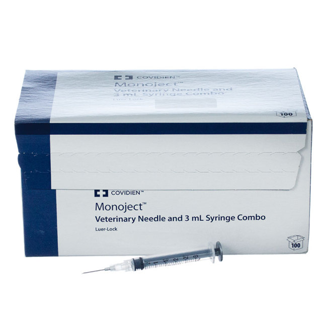 "3cc MonoJect Syringes with 20 gauge Needles 3cc, Luer Lock, 20g x ¾"", 100 ct"