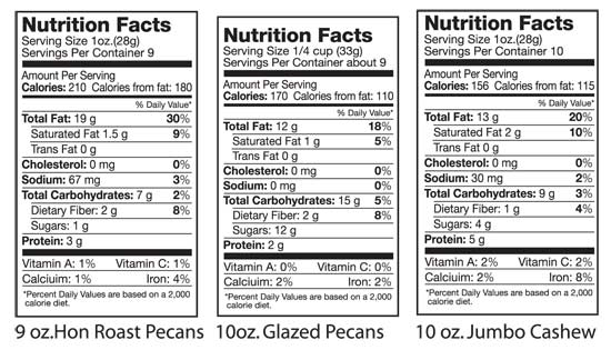 Nutritional Facts: Hon Roast Pecans, Glazed Pecans, & Jumbo Cashews