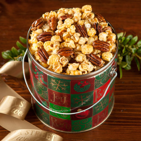 Nutty caramel popcorn holiday pail holiday candy gift for Christmas tin pails