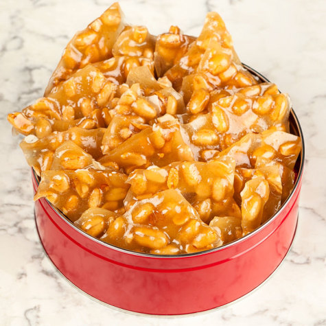 river street sweets tin of peanut brittle brittle toffee candies
