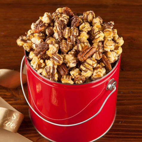 Chocolate Drizzled Nutty Caramel Popcorn Pail