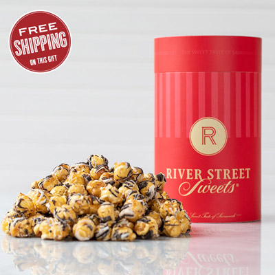 Chocolate Drizzled Caramel Corn Canister