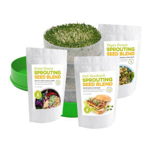 Sprouter And Seed Kit - Deluxe Sprouter with Sweet Greens Seed Blend