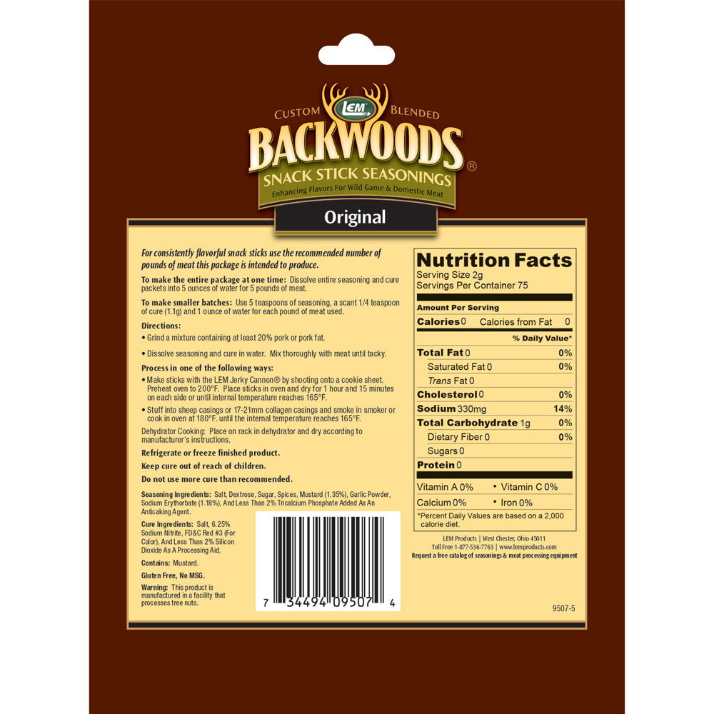 Included Snack Stick Seasoning Nutritional Info
