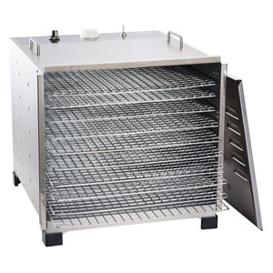 Big Bite® Stainless Steel Dehydrator with 12 Hour Timer - Big Bite Stainless Steel Dehydrator with Chrome Plated Trays