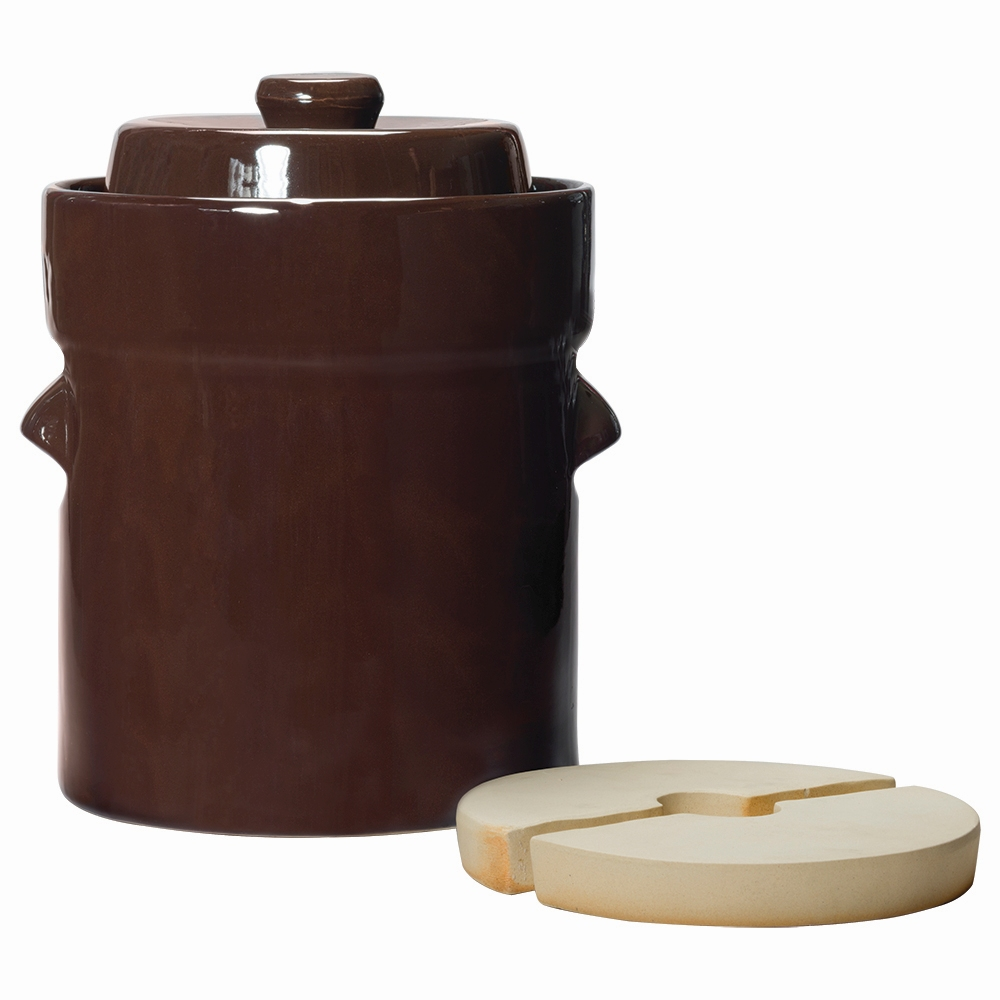 Traditional Style Water-Seal Crock Sets - 2L Fermentation Crock with Lid & Weights