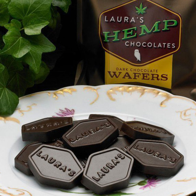 Laura's Dark Chocolate Hemp Wafers, 3 oz. Bag