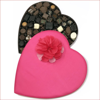 2 lbs. Assorted Chocolates Pink Satin Heart Box