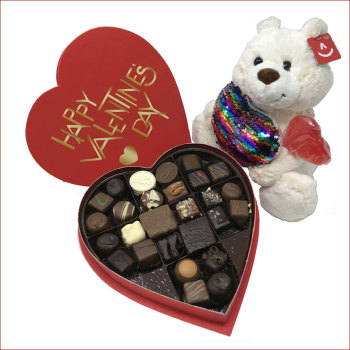 Assorted Chocolate Heart Box & Stuffed Bear Package