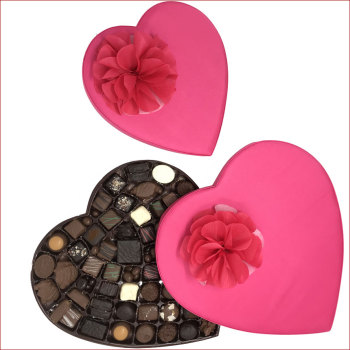 Pink Satin Luxury Heart Box of Assorted Chocolates