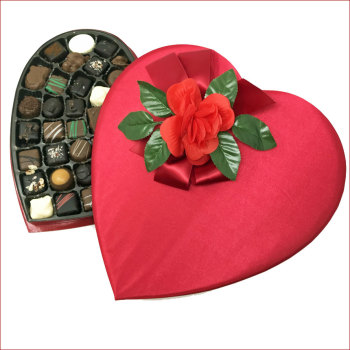1.5 lb Deluxe Red Satin Heart Box