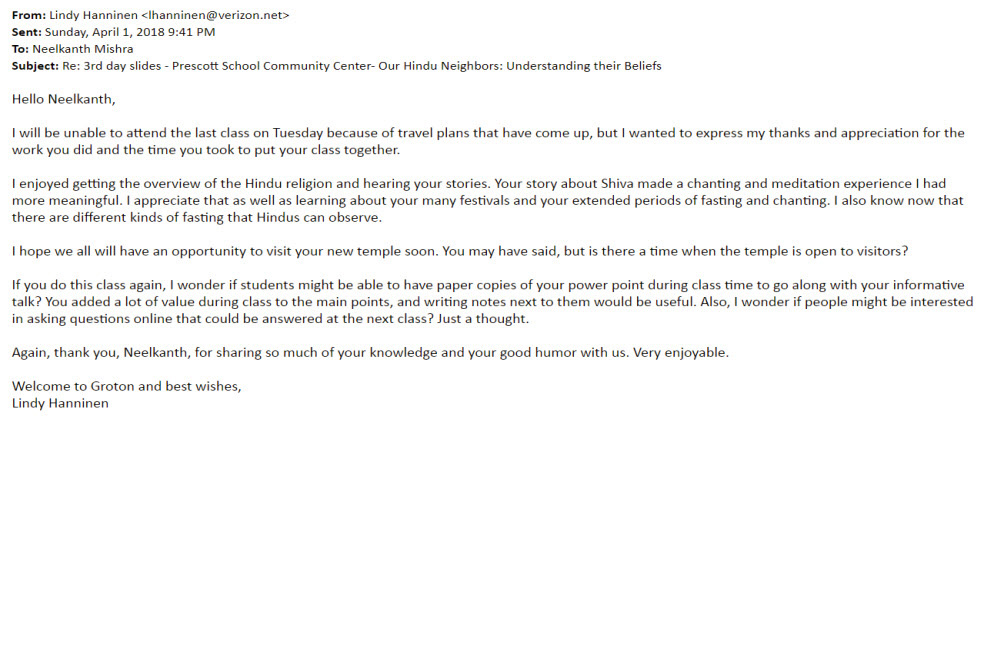Town of Groton Appreciation