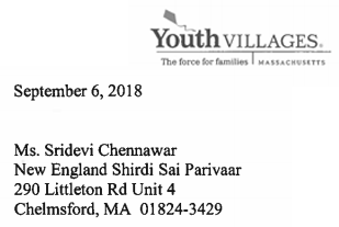 Letter from Youth Villages