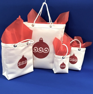 Sailcloth Christmas Gift Bags - Red Ornament Design