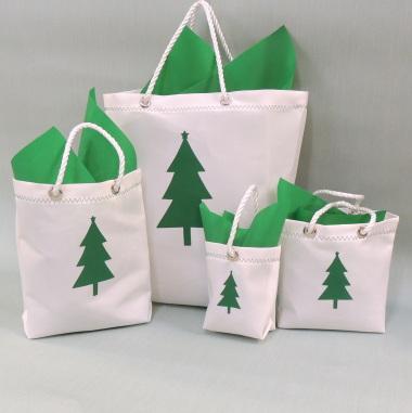Sailcloth Christmas Gift Bags - Green Christmas Tree Design