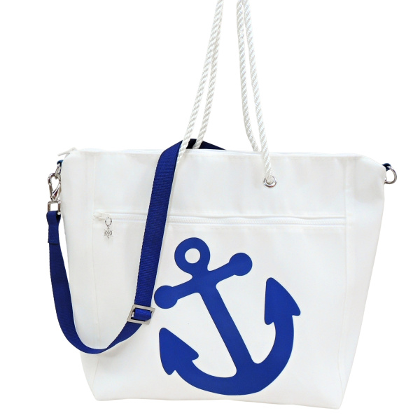 Sailcloth Zippered Tote with Anchor Design