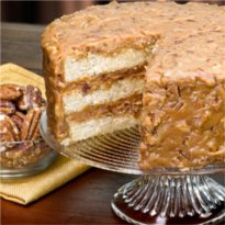 Our Original Praline Layer cake can't be found anywhere else.  This hand crafted cake gift is available online only at Savannah's Candy Kitchen.
