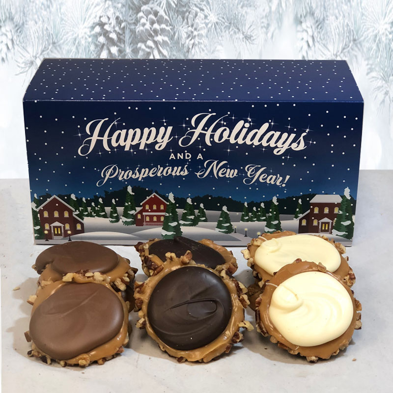 12 Piece Assorted Chocolate Turtle Gophers in the Holiday Gift Box
