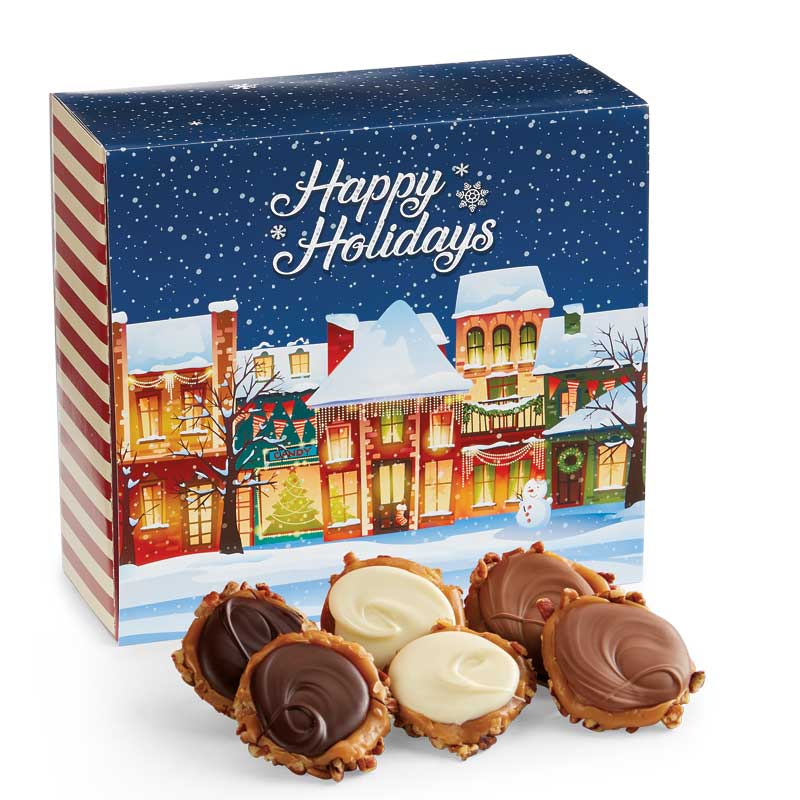 24 Piece Assorted Chocolate Turtle Gophers in the Holiday Gift Box