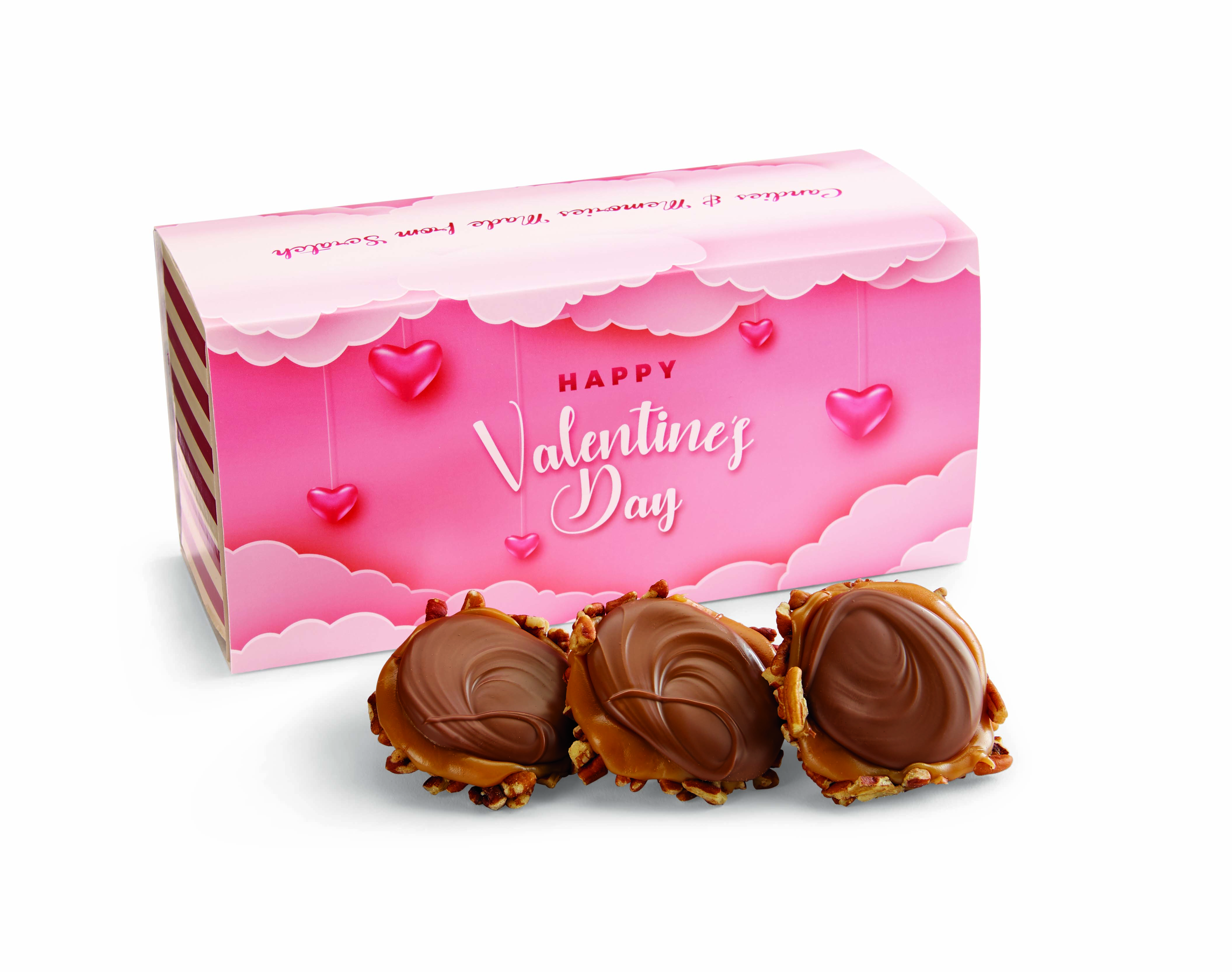 12 Piece Milk Chocolate Turtle Gophers in the Valentine's Gift Box