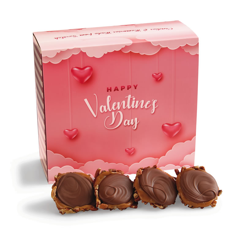24 Piece Milk Chocolate Turtle Gophers in the Valentine's Gift Box