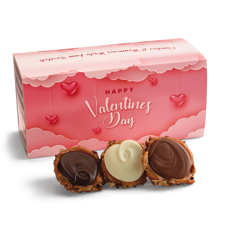 12 Piece Assorted Chocolate Turtle Gophers in the Valentine's Gift Box