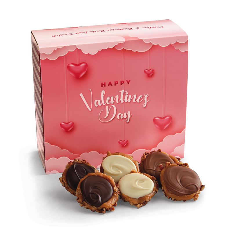 24 Piece Assorted Chocolate Turtle Gophers in the Valentine's Gift Box