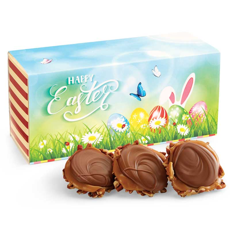12 Piece Milk Chocolate Turtle Gophers in the Easter Gift Box